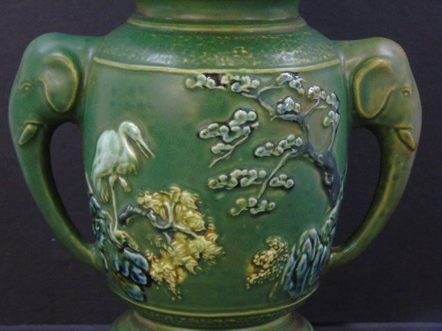 Qing Chinese Green Vase w Elephant Trunk Handles - 8