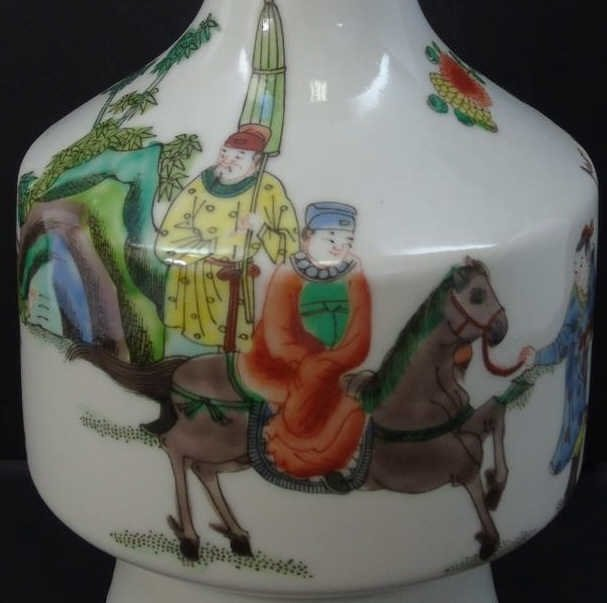 Pair Old Chinese Porcelain Vases Horses & Riders - 6