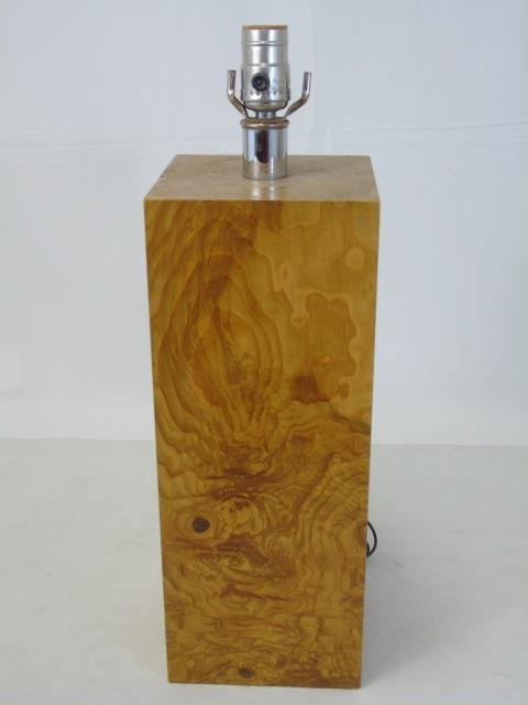 Vintage Mid Century Modern Burl Wood Table Lamp
