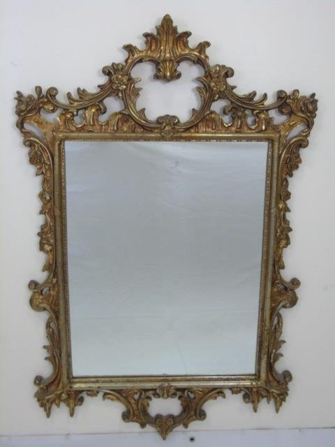 French Rococo Style Gold Scrollwork Mirror