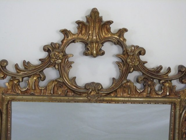 French Rococo Style Gold Scrollwork Mirror - 5