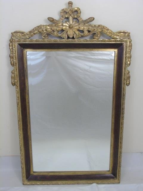 Carved Gilt Wood & Painted Ornate Mirror Frame