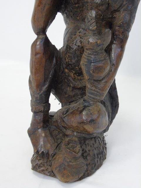 Hand Carved Solid Wood African Tribal Statue - 5