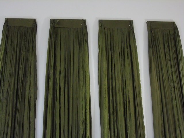 Four Custom Made French Green Silk Curtain Panels - 2