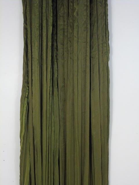 Four Custom Made French Green Silk Curtain Panels - 4