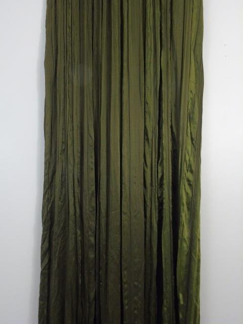 Four Custom Made French Green Silk Curtain Panels - 6