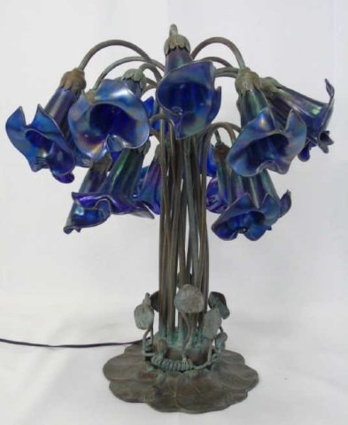 Louis Comfort Tiffany Favrile Glass 18 Arm Lamp