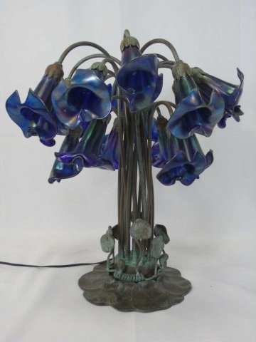 Louis Comfort Tiffany Favrile Glass 18 Arm Lamp - 4