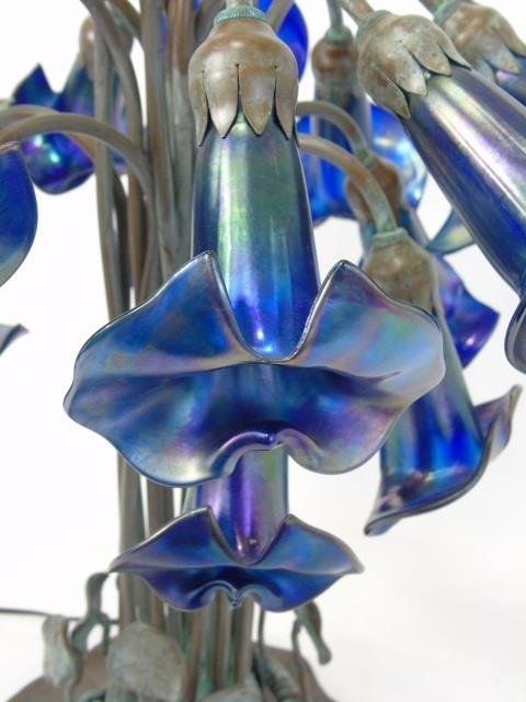 Louis Comfort Tiffany Favrile Glass 18 Arm Lamp - 8