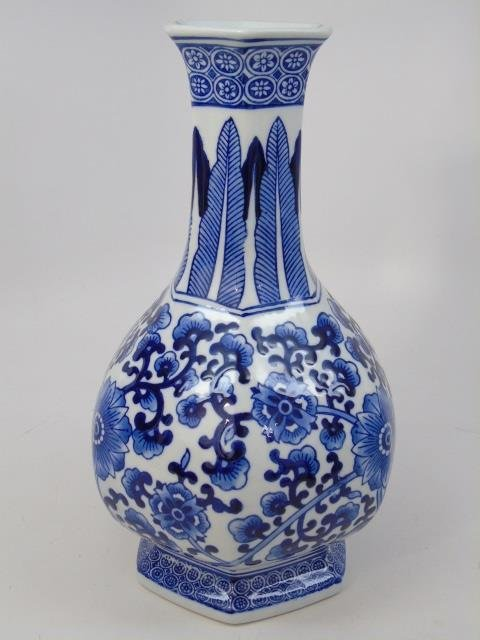 Pair Chinese Canton Blue & White Table Vases - 2