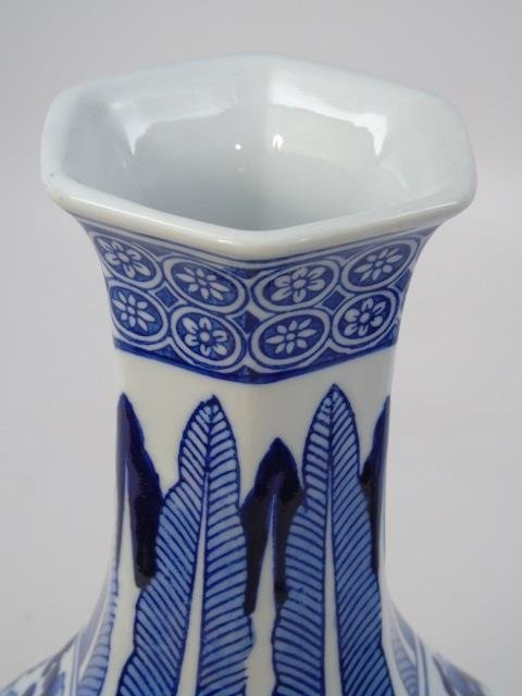 Pair Chinese Canton Blue & White Table Vases - 3