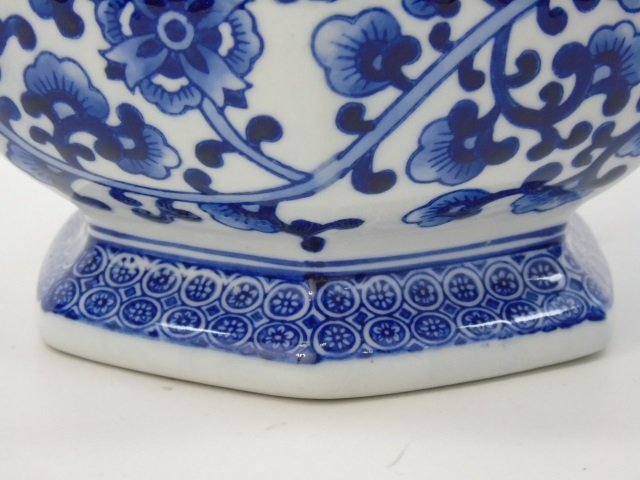 Pair Chinese Canton Blue & White Table Vases - 4