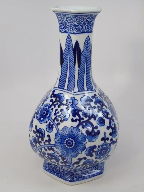 Pair Chinese Canton Blue & White Table Vases - 5