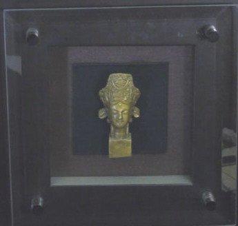 Bronze Chinese Buddha Head in Shadow Box Frame