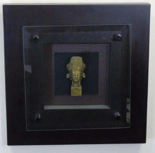 Bronze Chinese Buddha Head in Shadow Box Frame - 2