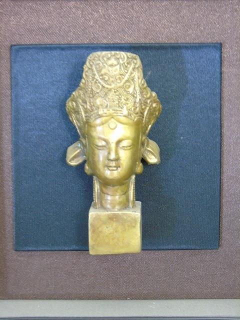 Bronze Chinese Buddha Head in Shadow Box Frame - 3