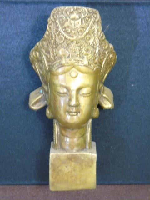 Bronze Chinese Buddha Head in Shadow Box Frame - 4