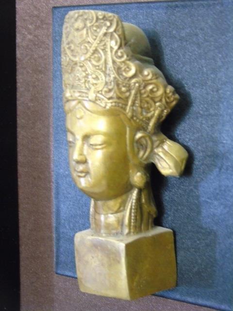 Bronze Chinese Buddha Head in Shadow Box Frame - 5
