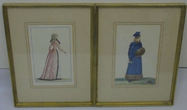 Antique Hand Colored French Empire Fashion Prints