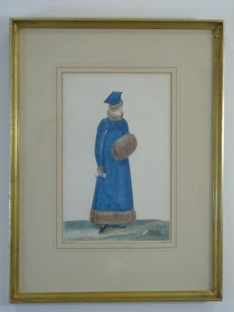 Antique Hand Colored French Empire Fashion Prints - 2