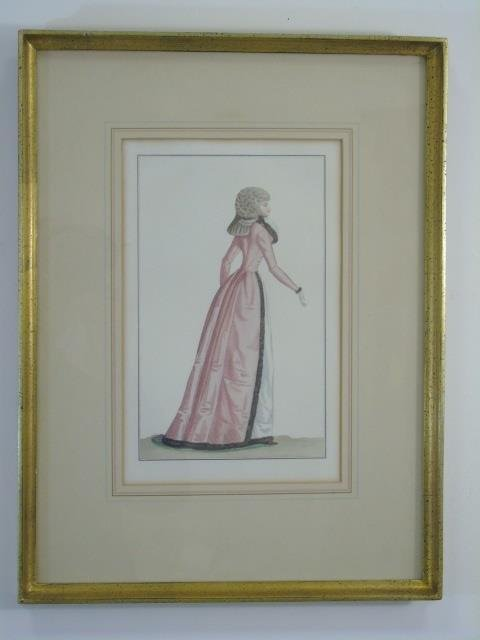 Antique Hand Colored French Empire Fashion Prints - 5
