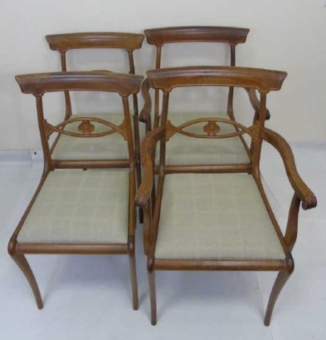 4 Antique French Provencal Style Dining Chairs