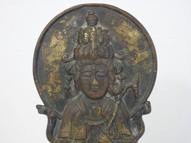 Antique Asian Bronze Female Buddha on Lotus Flower - 3