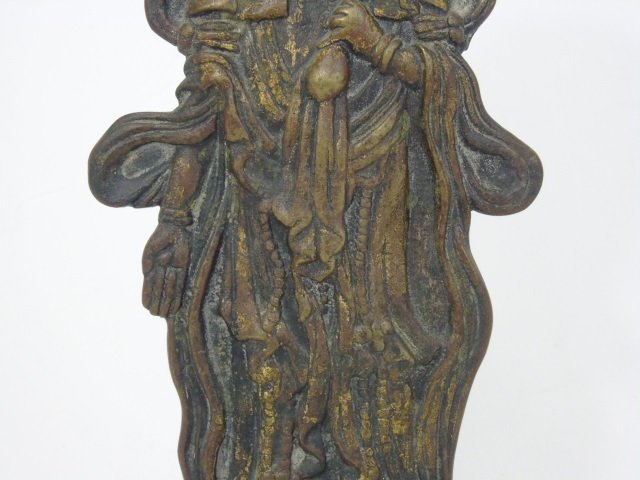 Antique Asian Bronze Female Buddha on Lotus Flower - 4