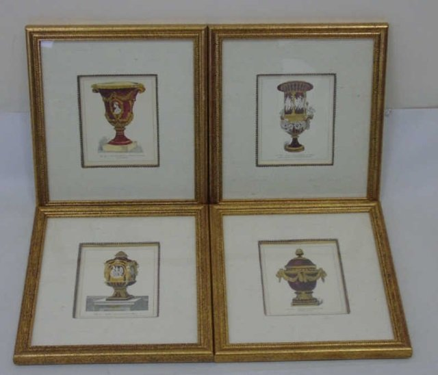 Four Framed & Matted Prints of Antique Urns