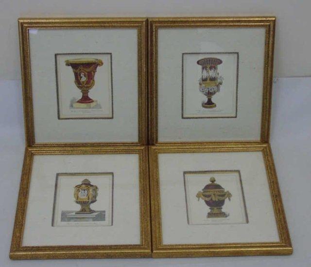 Four Framed & Matted Prints of Antique Urns