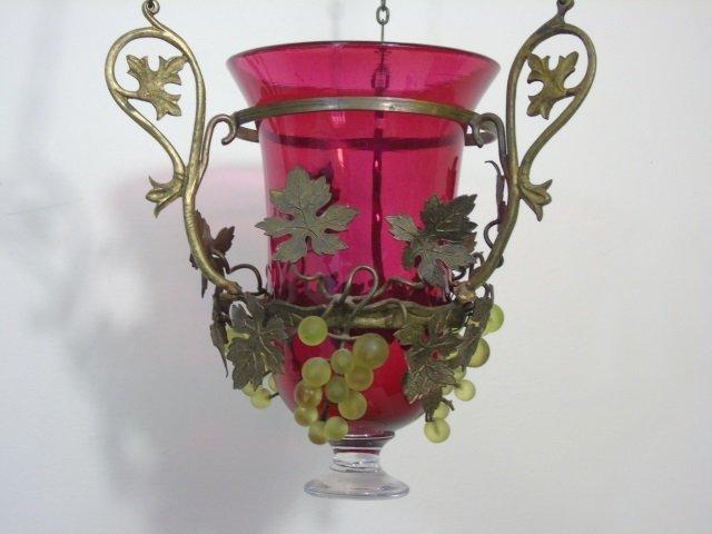 Ormolu Metal & Grape Motif Wall Lantern Sconce - 2