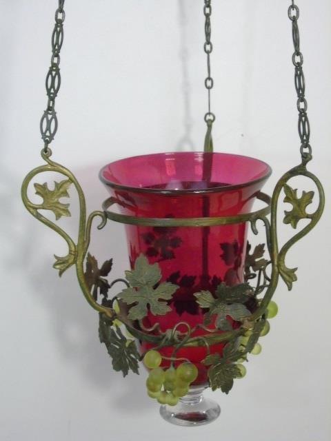 Ormolu Metal & Grape Motif Wall Lantern Sconce - 6