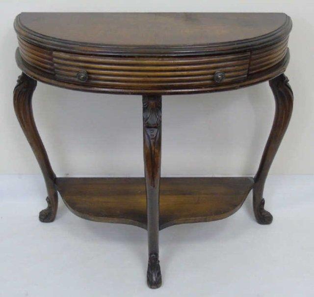 Antique Demi Lune Console Table w Cabriole Legs
