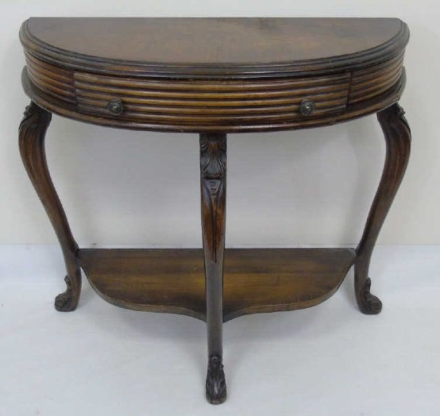 Antique Demi Lune Console Table w Cabriole Legs