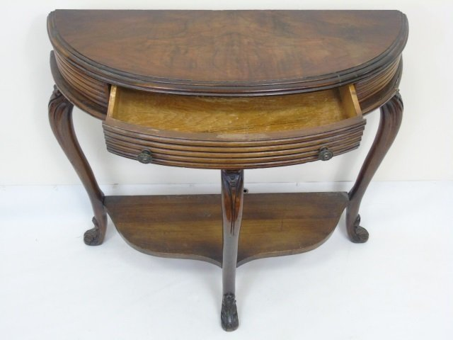 Antique Demi Lune Console Table w Cabriole Legs - 2