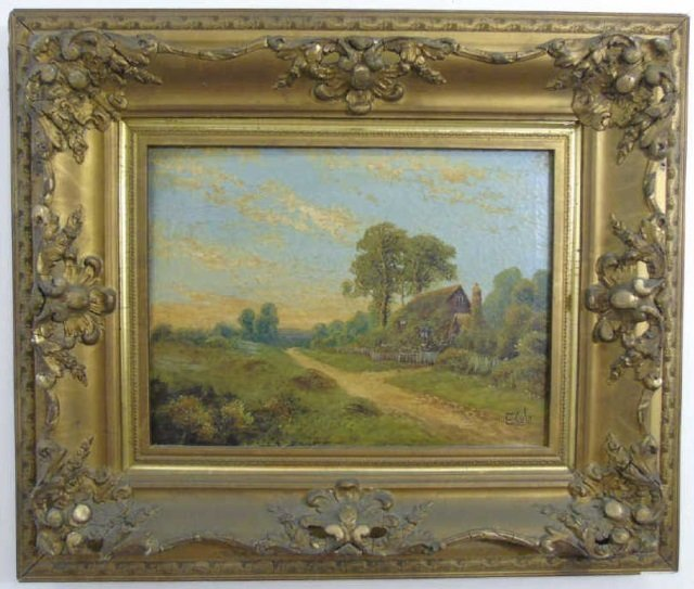 E Cole - Framed Antique Landscape Oil Painting