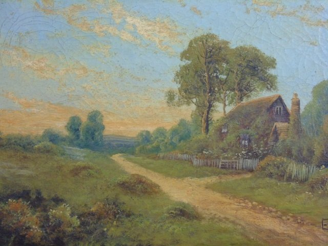 E Cole - Framed Antique Landscape Oil Painting - 2