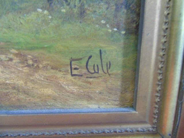E Cole - Framed Antique Landscape Oil Painting - 4