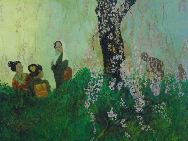 Painting of Young Ladies Under Cherry Blossom Tree - 3