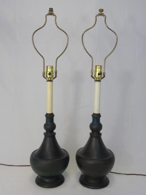 Pair Mid Century Modern Vase Form Table Lamps