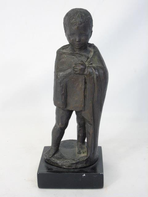Vintage Cast Bronze Tone Statue of a Child