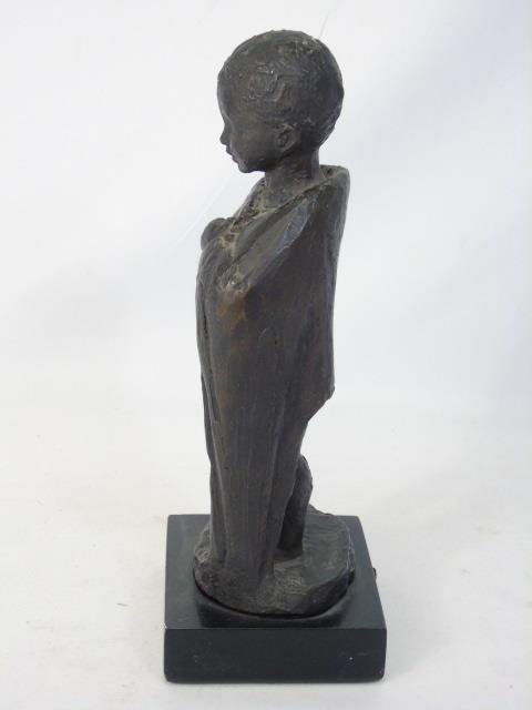 Vintage Cast Bronze Tone Statue of a Child - 2