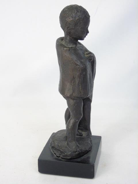 Vintage Cast Bronze Tone Statue of a Child - 3