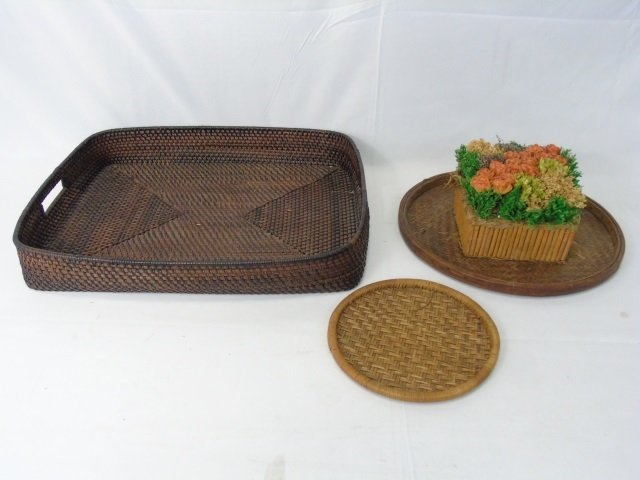Collection of Vintage Woven Baskets & Tray - 2