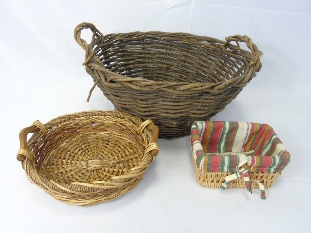 Collection of Vintage Woven Baskets & Tray - 3