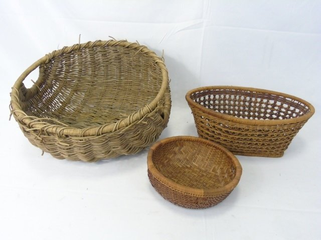 Collection of Vintage Woven Baskets & Tray - 4