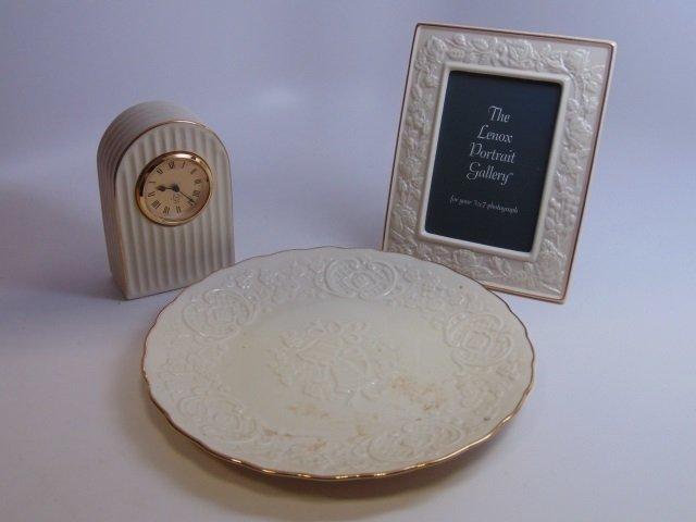 3 Vintage Lenox Porcelain Clock / Plate / Frame - 3