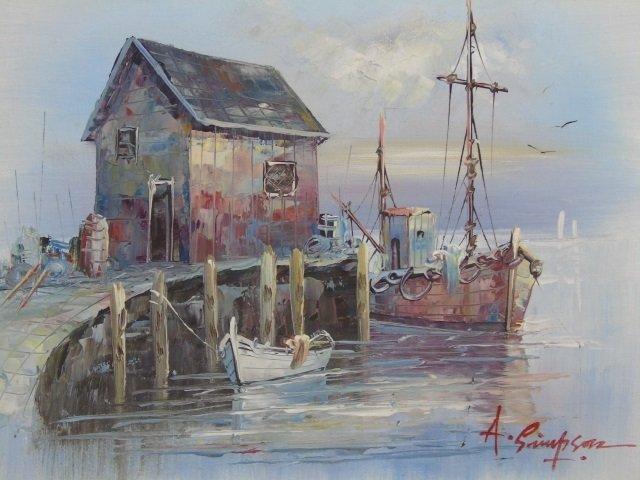 A. Simpson - Mid Century Harbor Scene Painting - 2