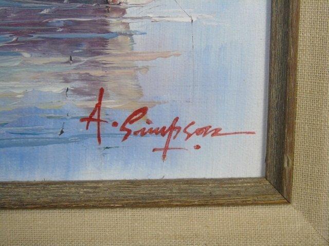 A. Simpson - Mid Century Harbor Scene Painting - 3