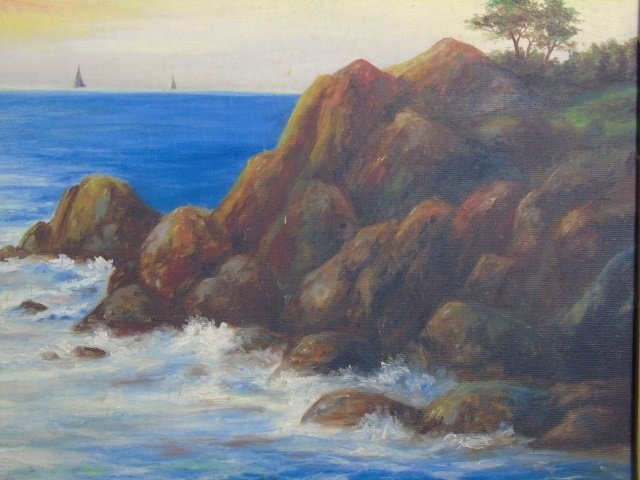 Chana - Framed & Signed Ocean View Painting - 2